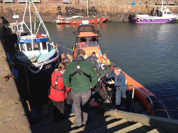 Loading the RIB at the Fish Stairs. The Two Colins at the helm and John Hunt (nearest camera) Main Organiser