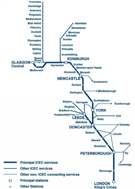 East Coast Route Map with Connecting Services