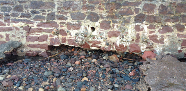 Detail to Show Undermining of Sea Wall, Forth St., NB