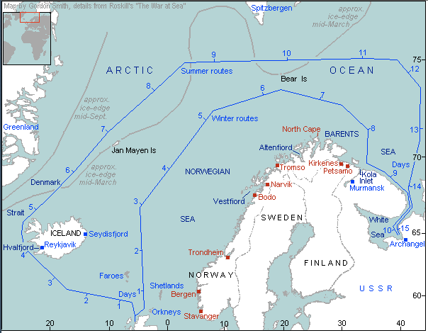 Seasonal Courses of Arctic Convoys to Russia