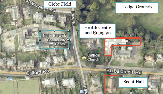 Map of Edington Area Showing How a Health Centre (lower red) Could be Replaced by Care Extension (upper red)
