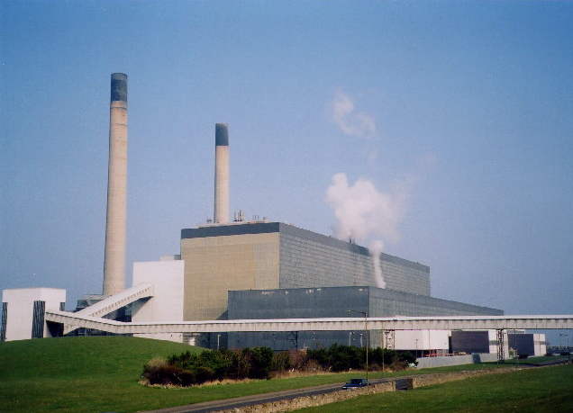 Cockenzie Power Station with its Coal Feed Conveyer and twin 100m-tall Chimneys