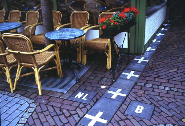 Belgian/Dutch border at Baarle-Hertog bisects a café.
