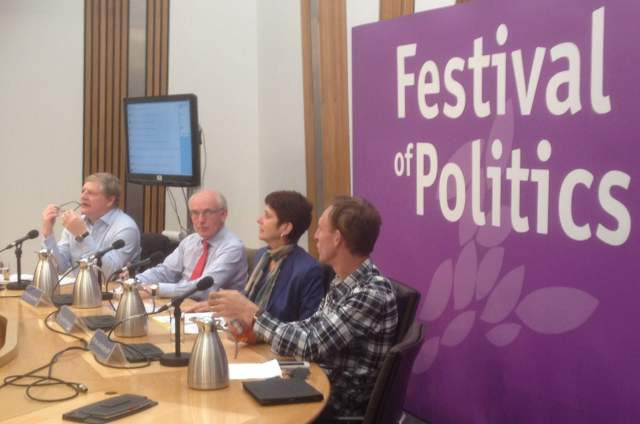 The Defence Panel (l to r) Angus Robertson; Hew Strachan; Louise Richardson; Jim Murphy