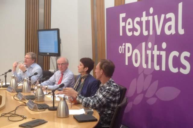 The Defence Panel (l to r) Angus Robertson; Hew Strachan; Louise Richardson; Jim Murphy