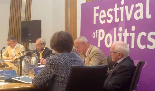 Economics Session: (l-r): Angus Anderson; David Bell; Jo Armstrong (Jeremy Peat behind); Bill Jamieson; Brian Quinn