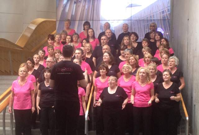 "OnChoir Performing Carly Simon's ""Let the River Run"" on Holyrood's main stairs"
