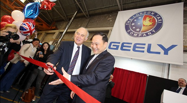 Business secretary, Vince Cable (left) cuts a ribbon with Geely Chairman Li Shufu as they officially restart production of TX4 model Read more: http://www.dailymail.co.uk/news/article-2417890/Black-cab-manufacturer-London-Taxi-Company-restarts-production