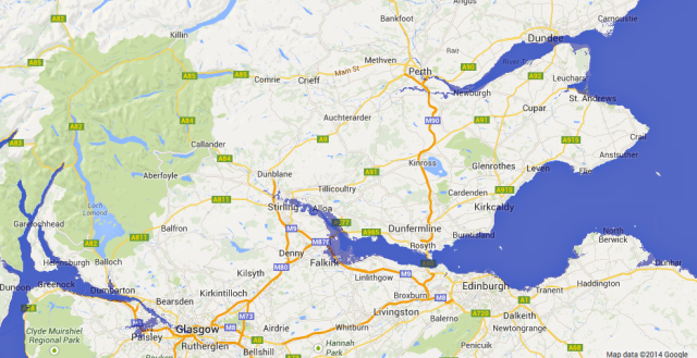 Effect of 8m Rise in sea Level in Central Scotland (purple indicates flooded land)