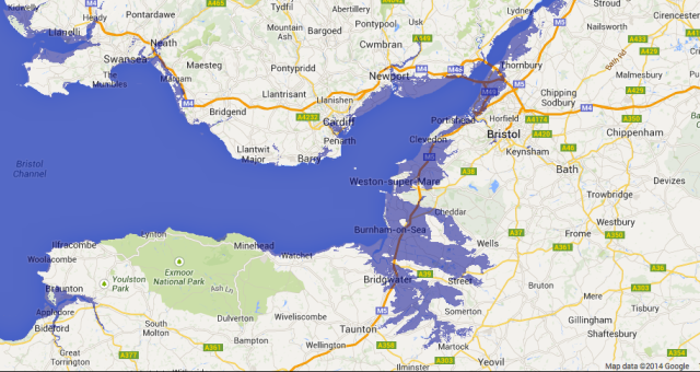 Effect of 8m Rise in sea Level on Bristol Channel (purple indicates flooded land)