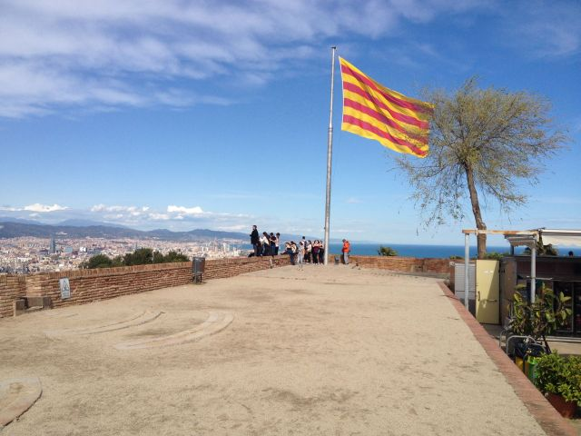 View over Barcelona with the Catalan Flag Flying on the Santa Amalia Bastion