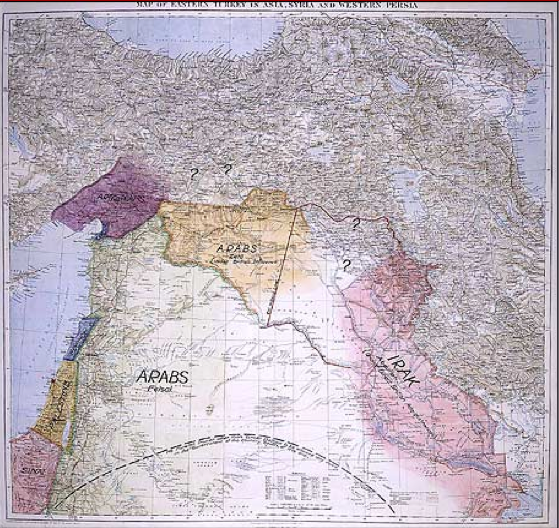 Lawrence's 'Peace Map' for the Middle East