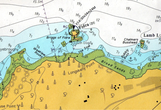 Admiralty Chart of Eyebroughy tpo Broadsands