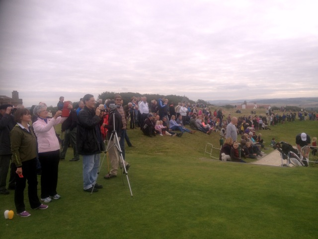 Over 100 people gather on Gullane Hill to witness the event