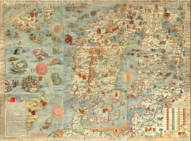 Medieval Carta Marina by Olaus Magnus, showing Scotland's major trading partners.