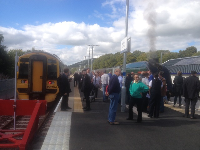Tweedbank Terminus; Class 58 on Left, Steam Excursion on Right