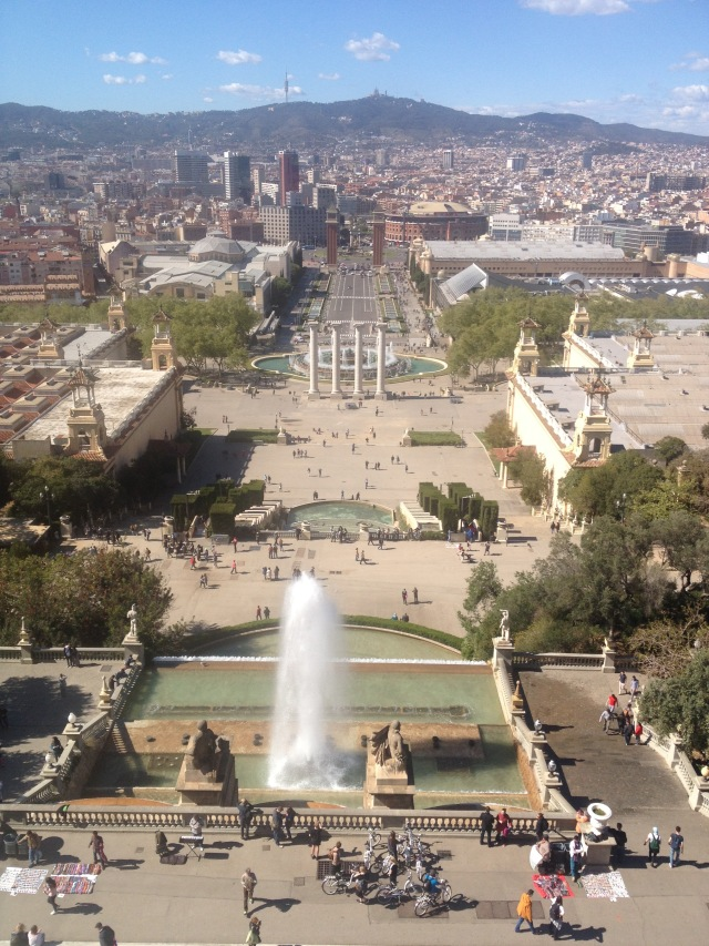 View over Plaza España from National Art Museum of Catalonia (MNAC) on Montjuic